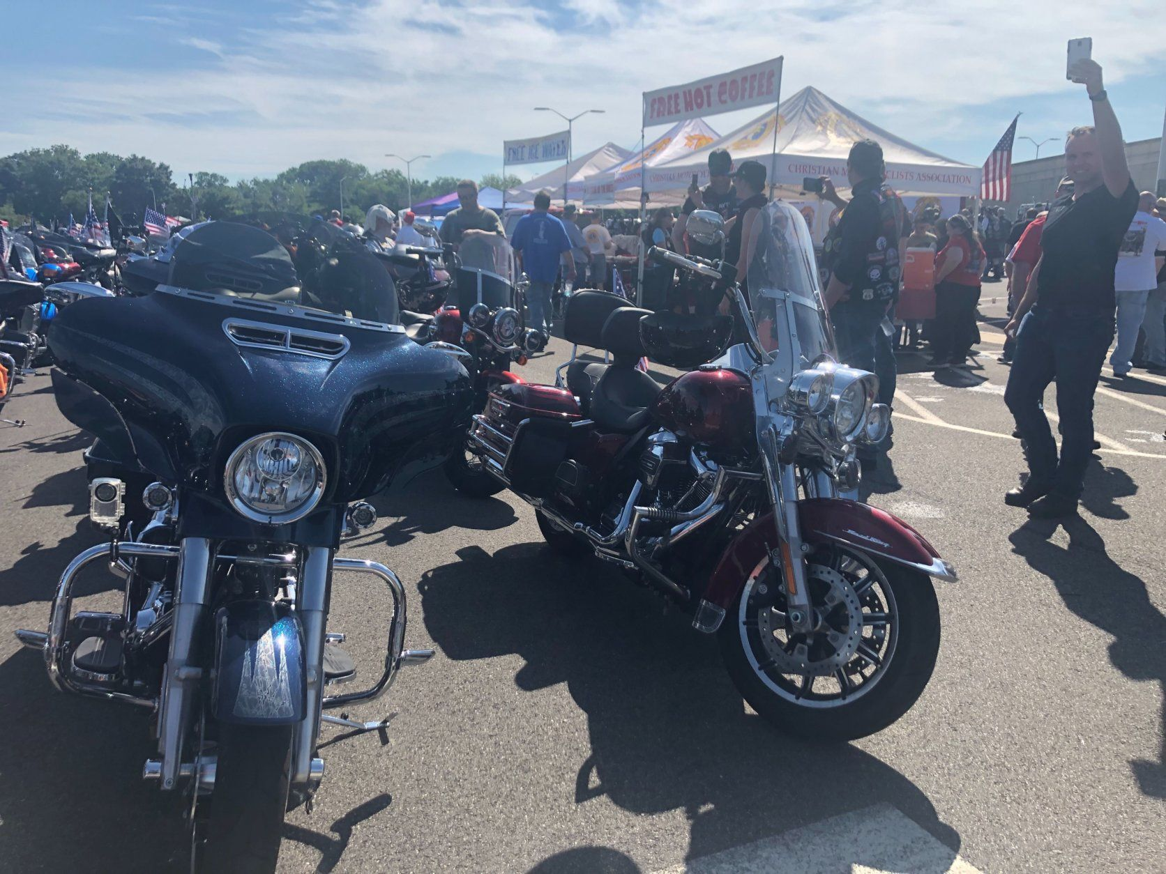 It looks like the final Rolling Thunder ride through Washington, D.C. will be marked by lots of sunshine. (WTOP/Melissa Howell)
