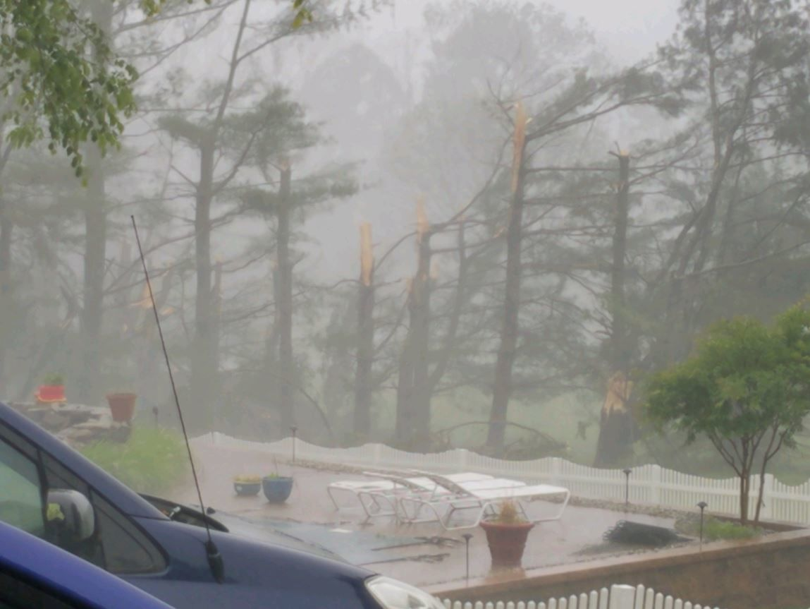 In Ellicott City, severe weather snapped trees on Thursday, May 30, 2019. (Courtesy JBR via Twitter)