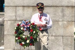 Here's retired Air Force Senior Master Sgt. Harry Miller, who presented the wreath dedicated to American veterans. (WTOP/Keara Dowd)