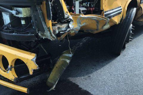 2 injured after school bus, car crash in Olney