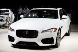 The 2016 Jaguar XF is displayed at the New York International Auto Show, Wednesday, April 1, 2015. (AP Photo/Mark Lennihan)