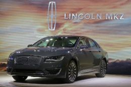 The 2017 Lincoln MKZ is shown at the Los Angeles Auto Show on Wednesday, Nov. 18, 2015 in Los Angeles. The Lincoln MKZ is getting an updated look and a big increase in power. (AP Photo/Chris Carlson)