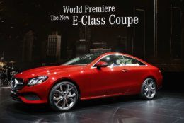 The Mercedes-Benz E-Class Coupe makes its debut at the North American International Auto Show in Detroit, Monday, Jan. 9, 2017. (AP Photo/Paul Sancya)