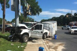Multiple people were injured after a landscaping truck crashed Monday on Rockville Pike. (Courtesy Montgomery County Fire & Rescue)