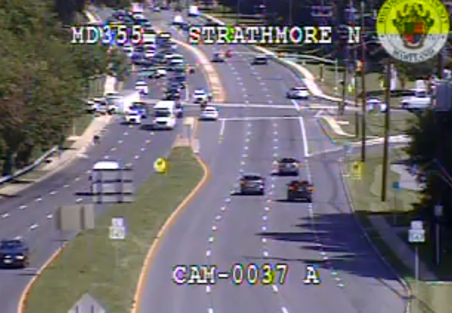 Multiple people were injured Monday morning when a truck crashed on southbound Rockville Pike in north Bethesda, Maryland. (Courtesy MDOT)