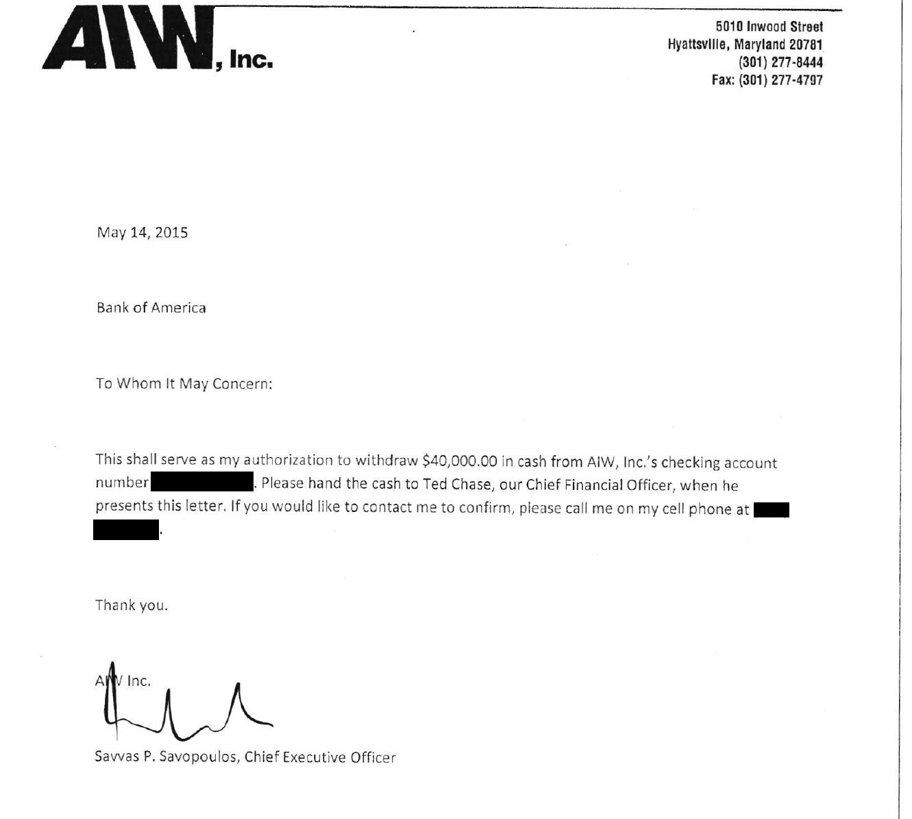 The authorization from Savvas Savopoulos to American Iron Works' CFO Ted Chase to withdraw $40,000 from the company checking account.(Courtesy U.S. Attorney's Office for D.C.)