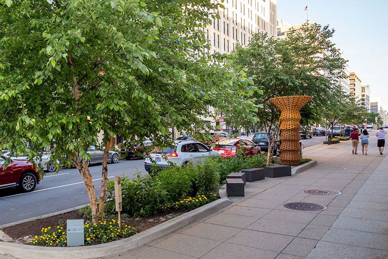 When complete, the new rain gardens and expanded tree boxes will add more than 4,00 square feet of green space along 19th Street in downtown D.C. (Courtesy Golden Triangle BID)