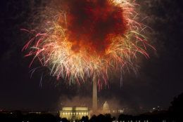 "In this July 4, 2018, file photo, fireworks explode over Lincoln Memorial, Washington Monument and U.S. Capitol, along the National Mall in Washington, during the Fourth of July celebration. President Donald Trump has stated he wants to reshape the annual event into a ""Salute to America"" that would feature Trump himself speaking from the steps of the Lincoln Memorial. (AP Photo/Jose Luis Magana, File)"