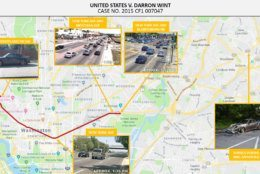An exhibit from the U.S. Attorney's Office tracking showing footage from traffic cameras that captured Amy Savopoulos' blue Porsche being driven out of D.C. and into Prince George's County where it was later found set on fire. (Courtey U.S. Attorney's Office for D.C.)