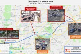 Another exhibit from the U.S. Attorney's Office tracking showing traffic camera footage that picked up a tow truck heading into downtown D.C. and then later towing a blue minivan to the same parking lot where the Porsche ended up burned. (Courtesy U.S. Attorney's Office)