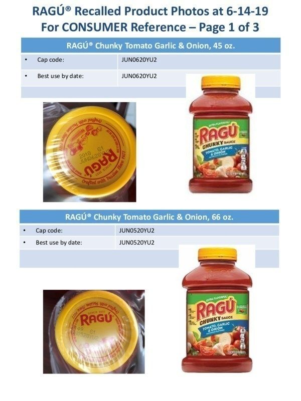 RAGÚ® Recalled Product Photos at 6-14-19 For CONSUMER Reference