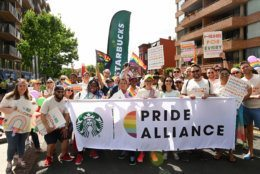 Starbucks employees celebrate Pride Month at the 2019 Capital Pride Parade. (Courtesy Shannon Finney Photography)