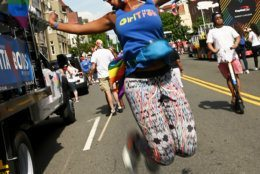 Vanessa Garrison, one of the co-founders of the nonprofit GirlTrek whose mission is to reduce the leading causes of preventable death among African-American women, at the 2019 Capital Pride Parade. (Courtesy Shannon Finney Photography)