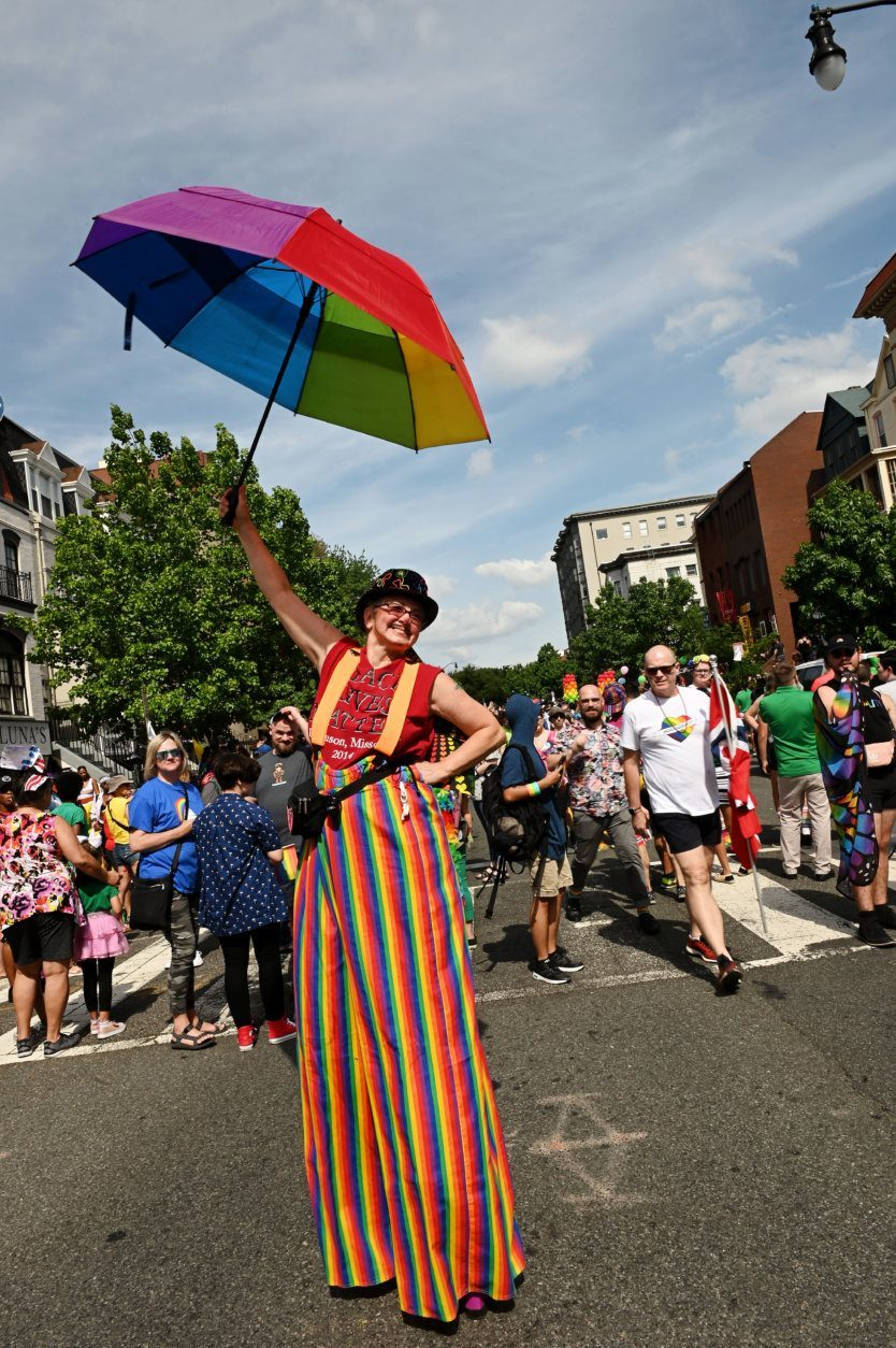 Stu Clown on her stilts during the 2019 Capital Pride Parade. (Courtesy Shannon Finney Photography)
