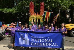 Staff from the Washington National Cathedral march in the 2019 Capital Pride Parade with a replica of one of the cathedral's spires. (Courtesy Shannon Finney Photography)