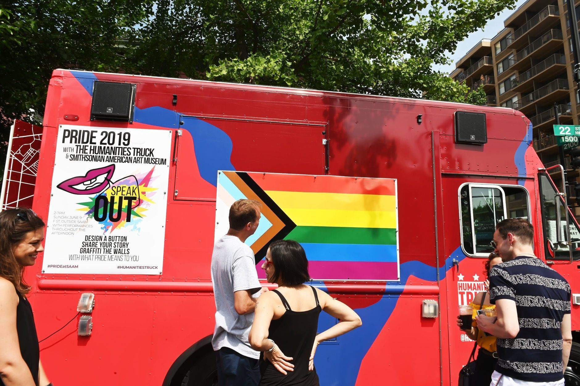 The Humanities Truck, a mobile art space sponsored by the Smithsonian American Art Museum and a partnership with American University, collects stories from the LGBTQ experience as part of Capital Pride.