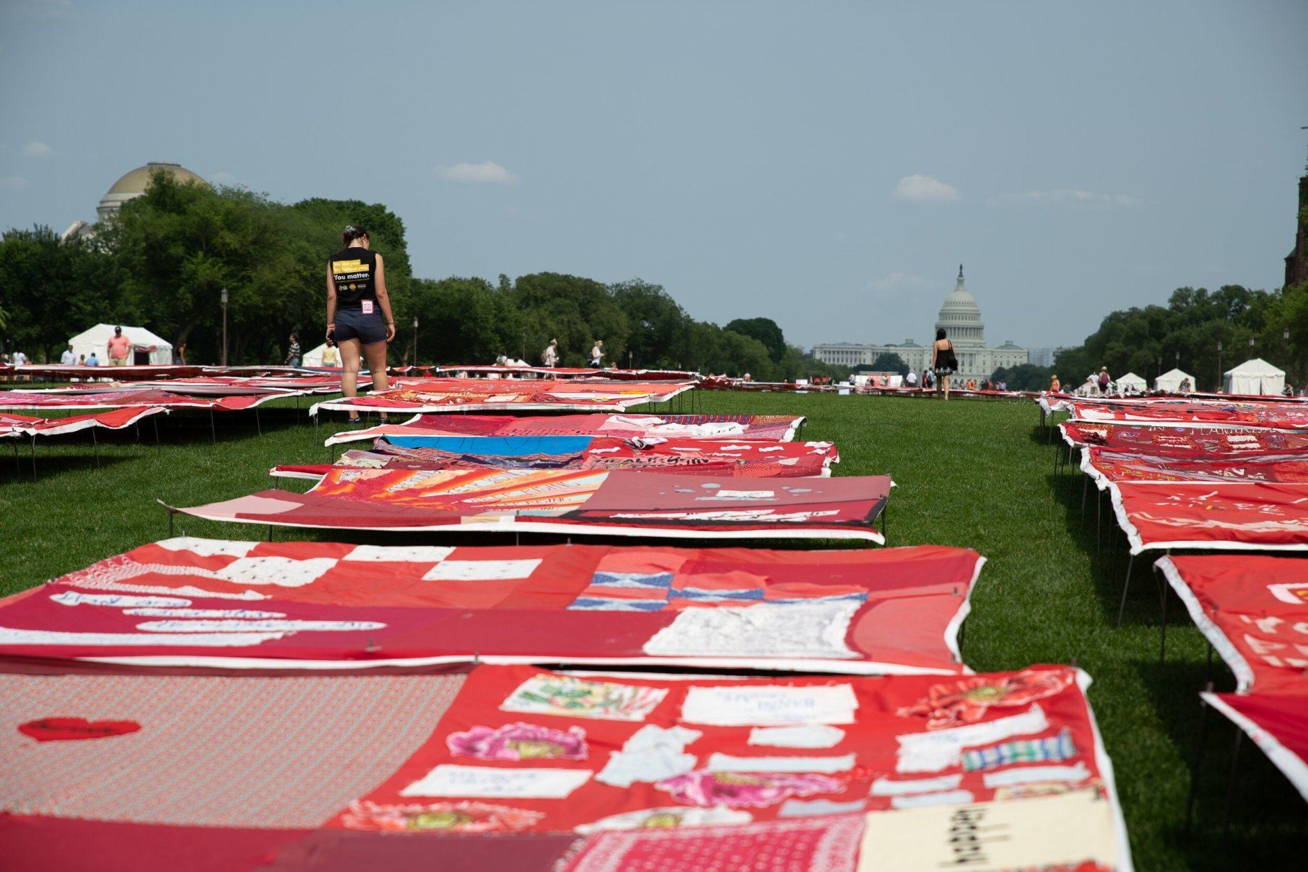 The quilts stretched out along the National Mall with the Capitol Building in the background. (WTOP/Alejandro Alvarez)