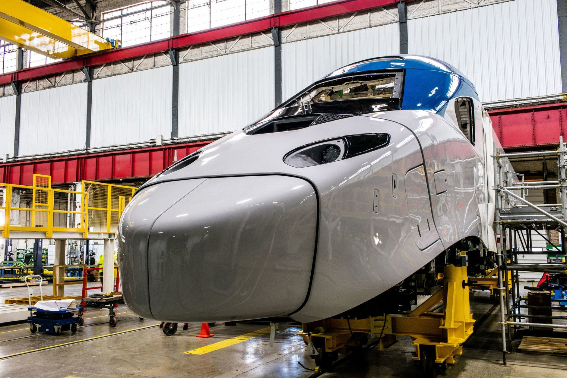 A look at the new Acela trains in production at Alstom's Hornell, New York, plant. (Courtesy Amtrak)