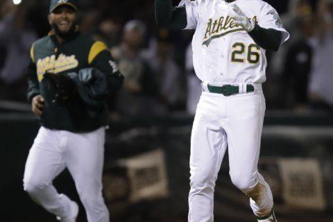Chapman's 3-run homer in 9th rallies A's past Rays 5-4