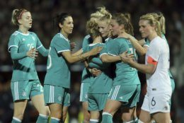 Germany players celebrate after Germany's Lea Schuller scored her side's opening goal during a women's international friendly soccer match between France and Germany at Francis-le-Basser stadium in Laval, western France, Thursday, Feb. 28, 2019. (AP Photo/David Vincent)