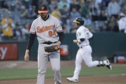 Baltimore Orioles pitcher Gabriel Ynoa (64) looks down as Oakland Athletics' Ramon Laureano rounds the bases after hitting a three-run home run during the fourth inning of a baseball game in Oakland, Calif., Tuesday, June 18, 2019. (AP Photo/Jeff Chiu)