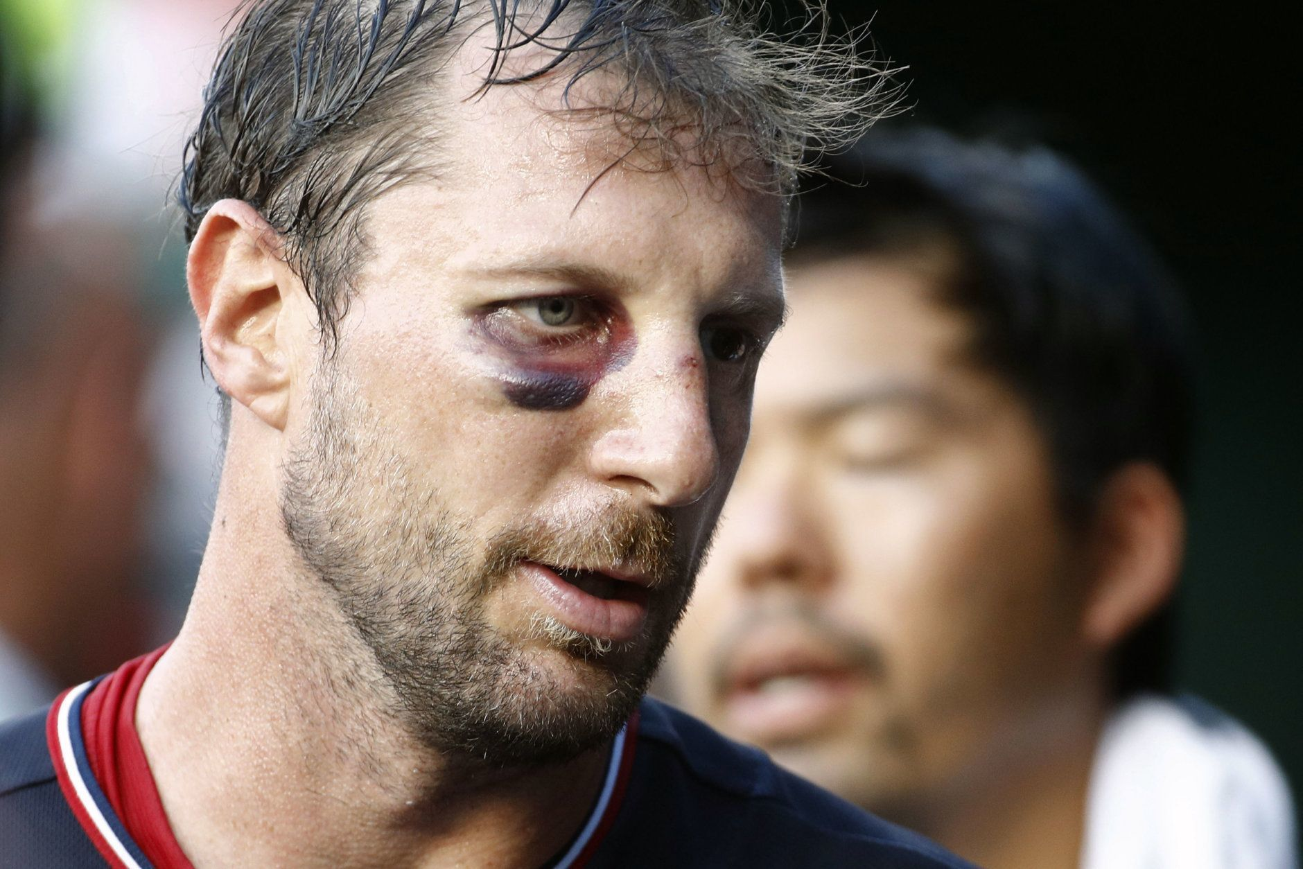 Washington Nationals starting pitcher Max Scherzer walks in the dugout between innings of the second baseball game of a doubleheader against the Philadelphia Phillies, Wednesday, June 19, 2019, in Washington. (AP Photo/Patrick Semansky)