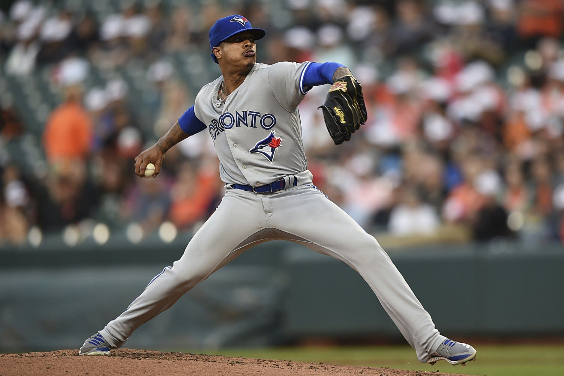 Toronto Blue Jays pitcher Marcus Stroman throws to a Baltimore Orioles batter during the first inning of a baseball game Thursday, June 13, 2019, in Baltimore. (AP Photo/Gail Burton)
