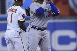 Toronto Blue Jays' Vladimir Guerrero reacts after hitting a double against the Baltimore Orioles during the first inning of a baseball game Thursday, June 13, 2019, in Baltimore. (AP Photo/Gail Burton)
