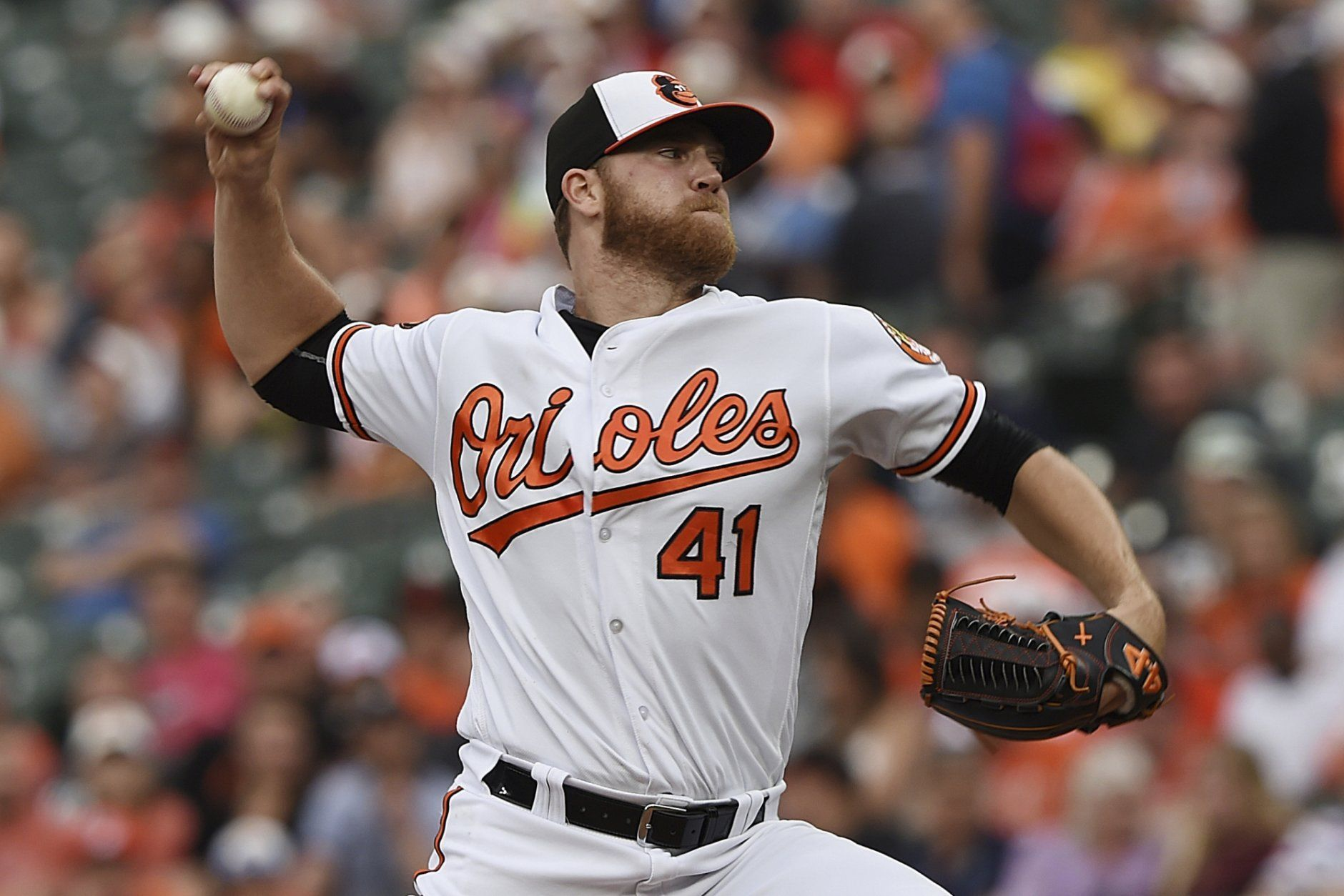 Baltimore Orioles pitcher David Hess throws to a Toronto Blue Jays batter during the first inning of a baseball game Wednesday, June 12, 2019, in Baltimore. (AP Photo/Gail Burton)