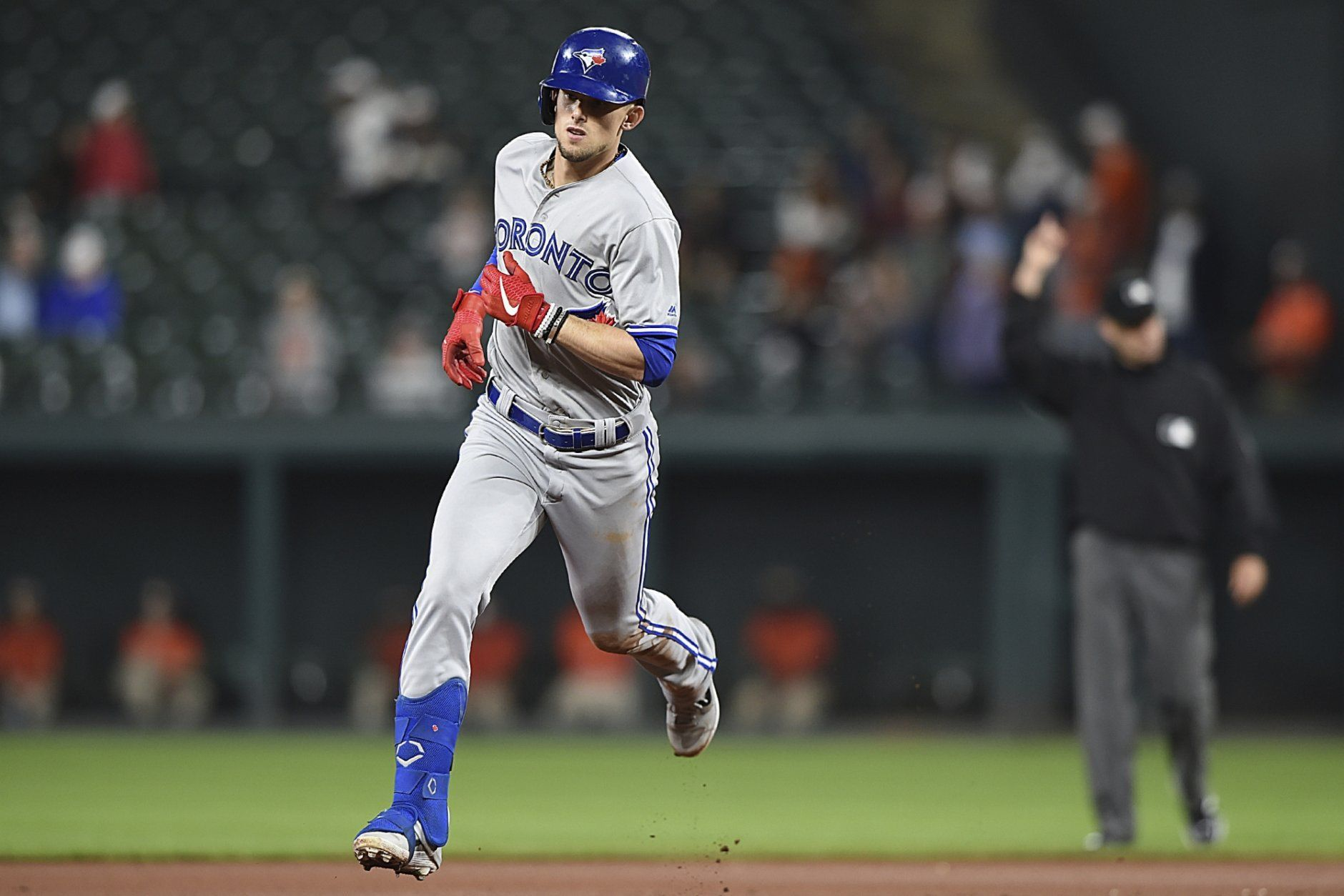 Toronto Blue Jays' Cavan Biggio runs the bases after hitting a solo home run against the Baltimore Orioles during the seventh inning of a baseball game Thursday, June 13, 2019, in Baltimore. (AP Photo/Gail Burton)