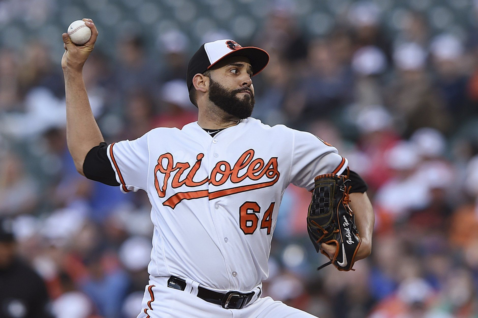 Baltimore Orioles pitcher Gabriel Ynoa delivers against the Toronto Blue Jays during the first inning of a baseball game Thursday, June 13, 2019, in Baltimore. (AP Photo/Gail Burton)
