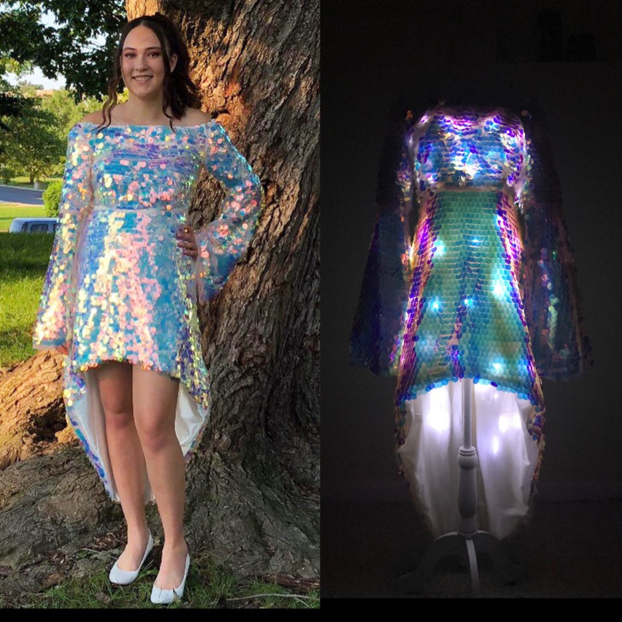 """Christina works with other materials, of course. This dress was made with sequin fabric, which added shine and sparkle. """"The dress had fairy lights sewn into the dress with a remote control that could easily light up for that 'wow!'"""" Mellott said. (Courtesy Nicole Mellott)"""