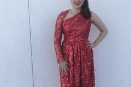 For a theater event at the Kennedy Center, Christina made a one-sleeve red sequin gown. It was a last-minute creation she made in one day. (Courtesy Anna McDonald)