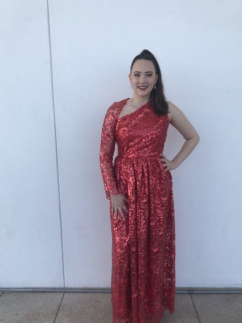 Christina made a red sequin dress with one sleeve for a theater event at the Kennedy Center.  It was a last minute creation that she did in a day.  (Courtesy Anna McDonald)