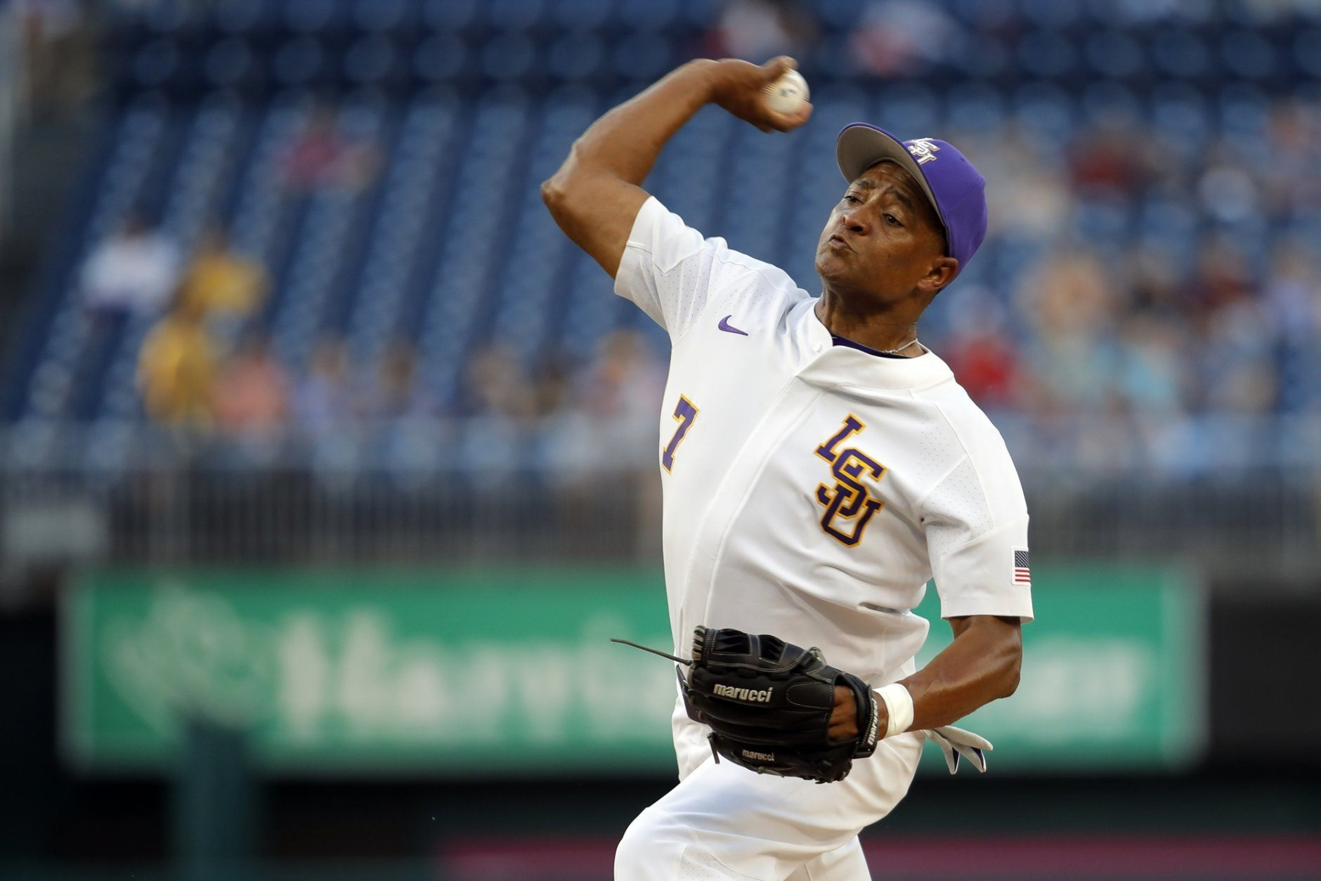 Democrats starting pitcher Rep. Cedric Richmond, D-La., throws during the first inning of the Congressional Baseball Game at Nationals Park in Washington, Wednesday, June 26, 2019. (AP Photo/Carolyn Kaster)