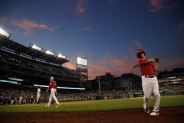 Sen. Rand Paul, R-Ky., waits to bat during the third inning of the Congressional Baseball Game at National's Park in Washington, Wednesday, June 26, 2019. (AP Photo/Carolyn Kaster)