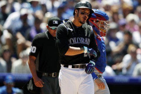 Arenado in the lineup day after being hit in arm by pitch