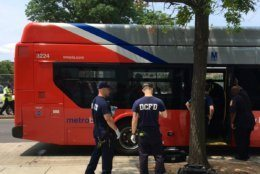 D.C. Fire and EMS personnel respond to a crash between a Metrobus and a truck in Northeast. (Courtesy DC Fire and EMS)