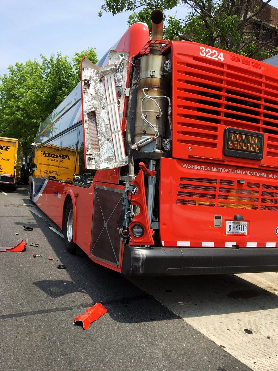 Damage to the Metrobus as resulting from the crash. (Courtesy D.C. Fire and EMS)