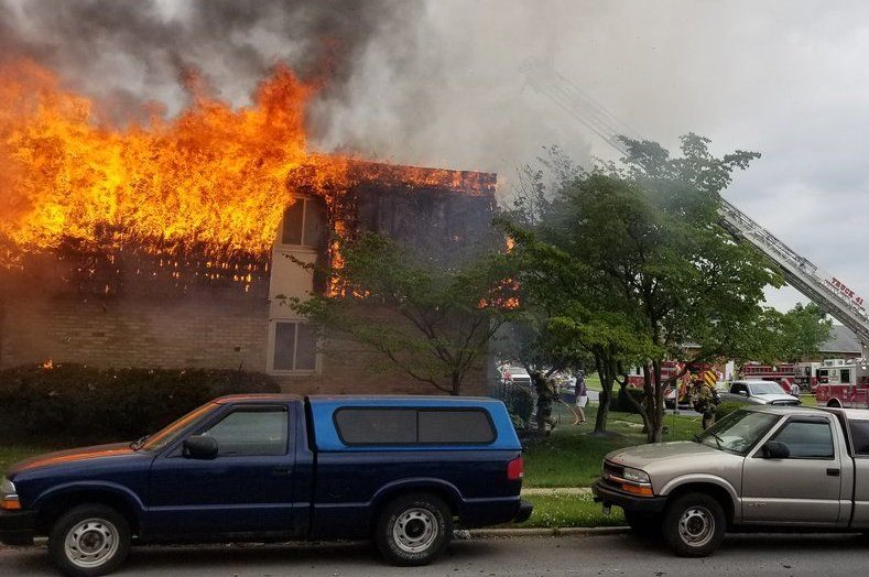 The residential building on the corner of Prospect Boulevard and Carrollton Drive suffered a partial building collapse, fire officials said. (Courtesy Frederick Police)