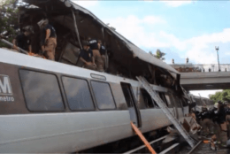 A screenshot from a DC Fire and EMS documentary shows one train on top of another. (Courtesy DC Fire and EMS)