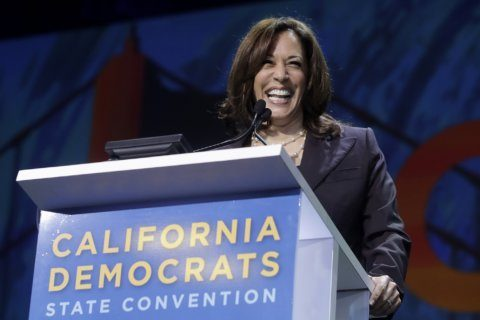 Protester grabs Kamala Harris' microphone on stage during MoveOn forum