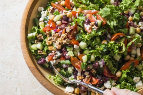 Nutty chickpeas and kalamata olives give this salad a kick