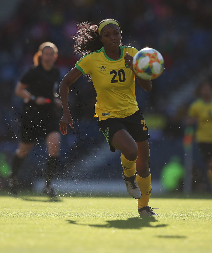 GLASGOW, SCOTLAND - MAY 28: Lauren Silver of Jamaica is seen in action during the Women's International Friendly match between Scotland and Jamaica at Hampden Park on May 28, 2019 in Glasgow, Scotland. (Photo by Ian MacNicol/Getty Images)
