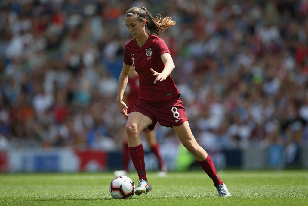 BRIGHTON, ENGLAND - JUNE 01: Jill Scott of England Women runs with the ball during the International Friendly between England Women and New Zealand Women at Amex Stadium on June 01, 2019 in Brighton, England. (Photo by Steve Bardens/Getty Images)