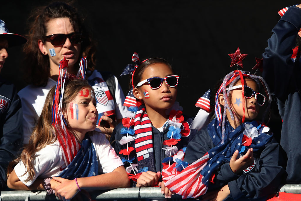 LE HAVRE, FRANCE - JUNE 20: USA fans enjoy the pre match atmosphere prior to the 2019 FIFA Women's World Cup France group F match between Sweden and USA at Stade Oceane on June 20, 2019 in Le Havre, France. (Photo by Alex Grimm/Getty Images)