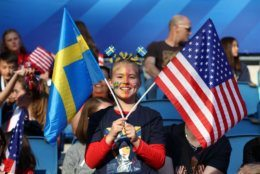 LE HAVRE, FRANCE - JUNE 20: Fans enjoy the pre match atmosphere prior to the 2019 FIFA Women's World Cup France group F match between Sweden and USA at Stade Oceane on June 20, 2019 in Le Havre, France. (Photo by Alex Grimm/Getty Images)