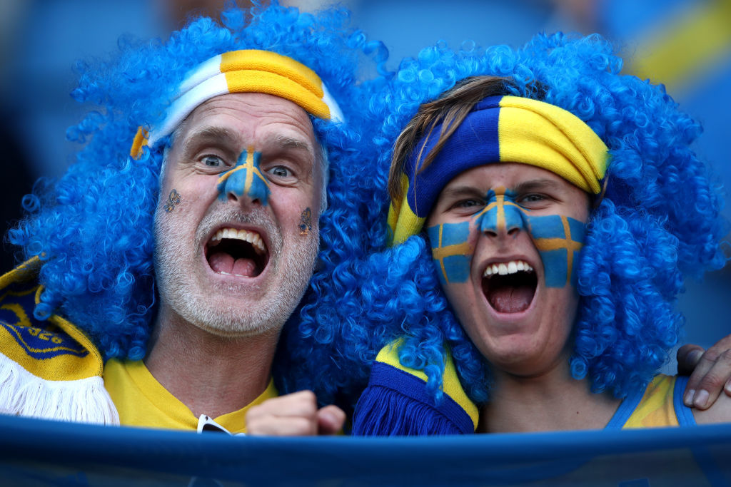 LE HAVRE, FRANCE - JUNE 20: Sweden fans enjoy the pre match atmosphere prior to the 2019 FIFA Women's World Cup France group F match between Sweden and USA at Stade Oceane on June 20, 2019 in Le Havre, France. (Photo by Alex Grimm/Getty Images)