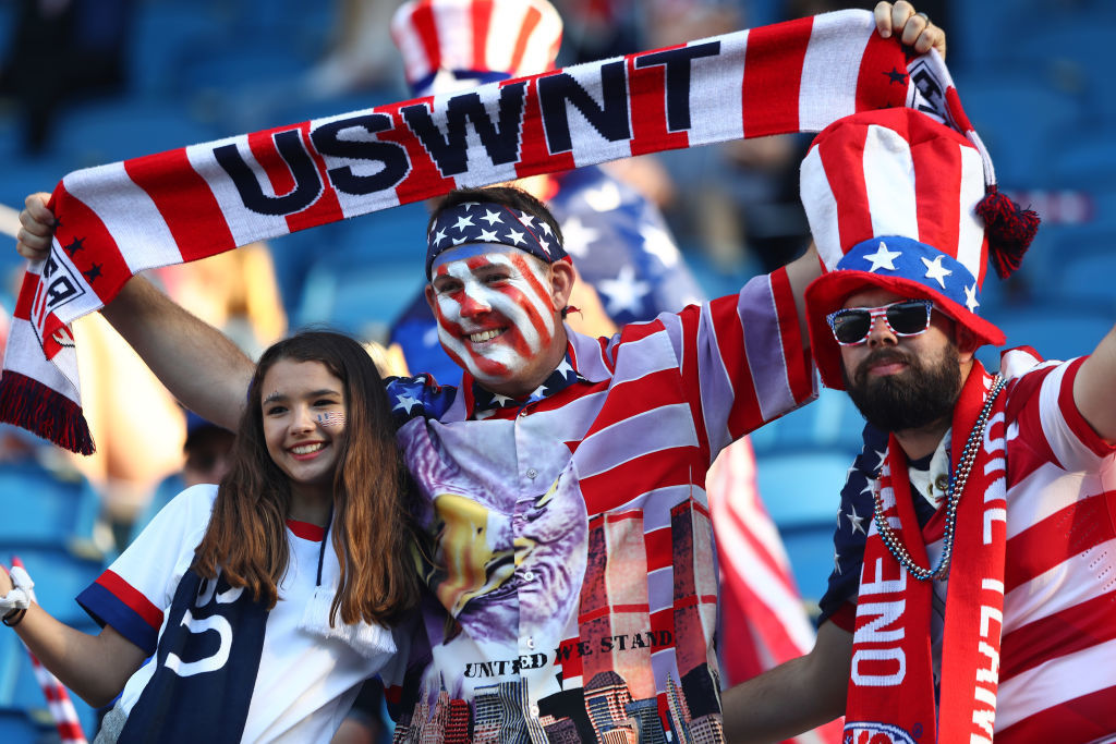 LE HAVRE, FRANCE - JUNE 20: USA fans enjoy the pre match atmosphere prior to the 2019 FIFA Women's World Cup France group F match between Sweden and USA at Stade Oceane on June 20, 2019 in Le Havre, France. (Photo by Martin Rose/Getty Images)