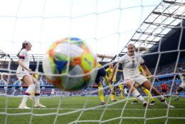 LE HAVRE, FRANCE - JUNE 20: Lindsey Horan of the USA scores her team's first goal the 2019 FIFA Women's World Cup France group F match between Sweden and USA at Stade Oceane on June 20, 2019 in Le Havre, France. (Photo by Alex Grimm/Getty Images)